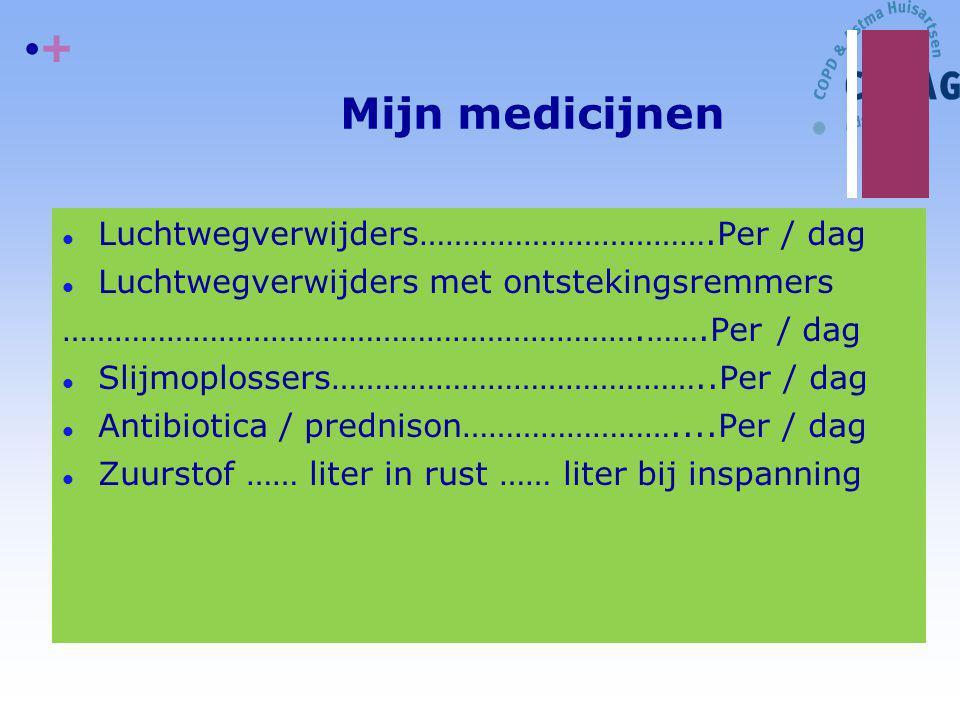 + Mijn medicijnen l Luchtwegverwijders…………………………….Per / dag l Luchtwegverwijders met ontstekingsremmers ………………………………………………………….…….Per / dag l Slijmopl