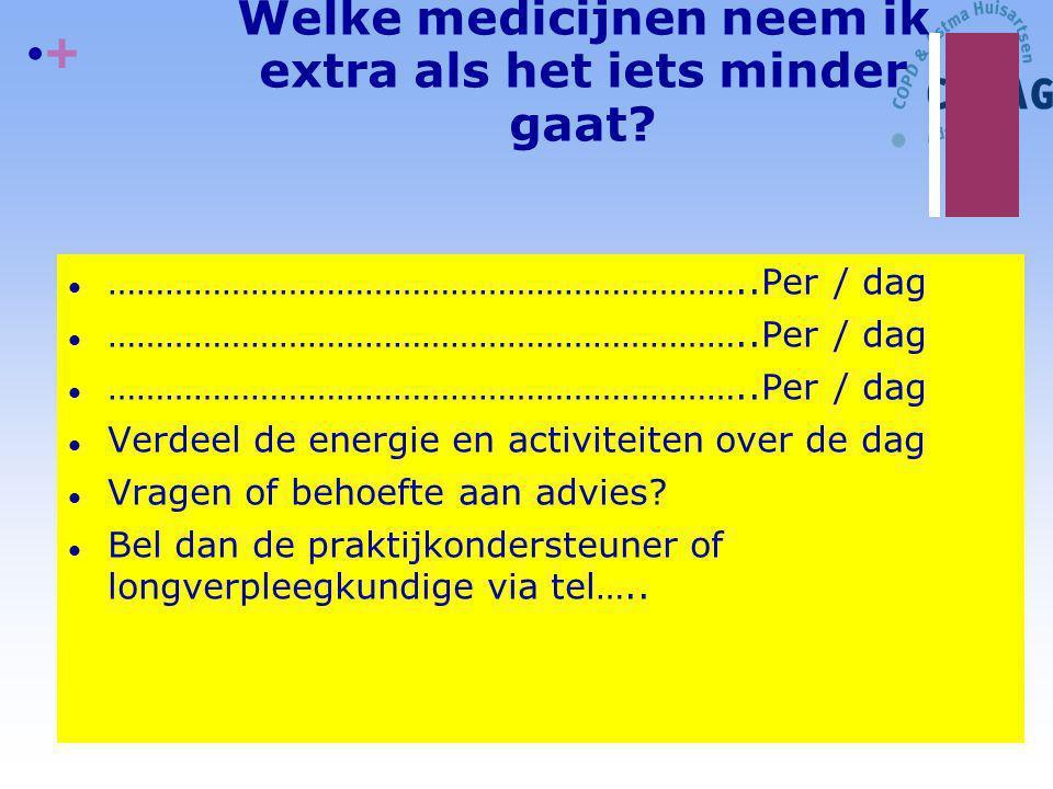 + Welke medicijnen neem ik extra als het iets minder gaat? l …………………………………………………………..Per / dag l Verdeel de energie en activiteiten over de dag l Vrag
