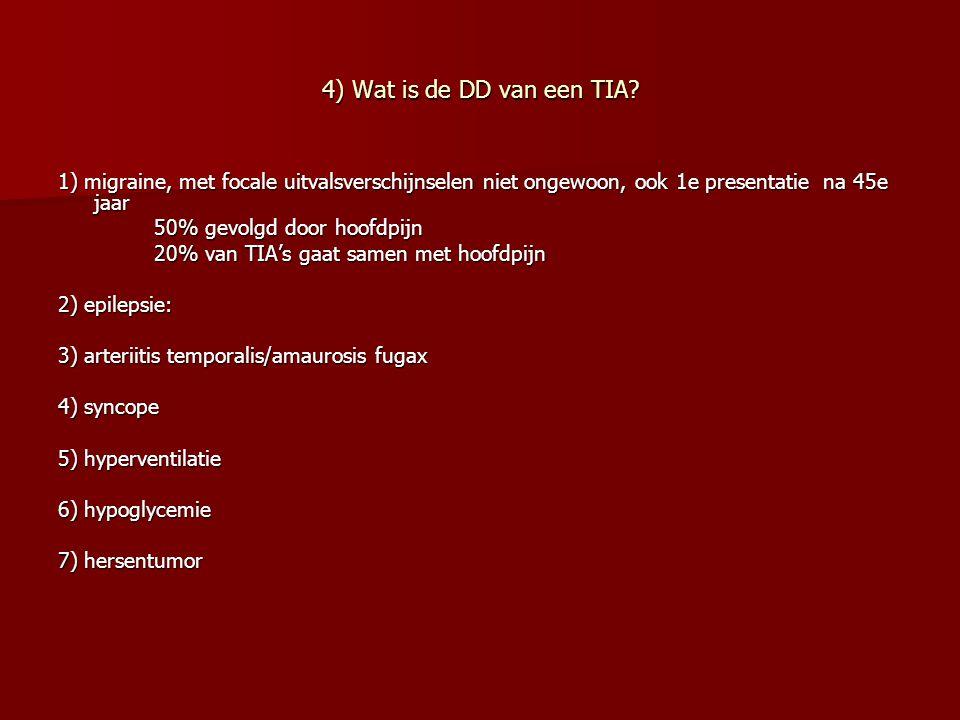 4) Wat is de DD van een TIA? 1) migraine, met focale uitvalsverschijnselen niet ongewoon, ook 1e presentatie na 45e jaar 50% gevolgd door hoofdpijn 20