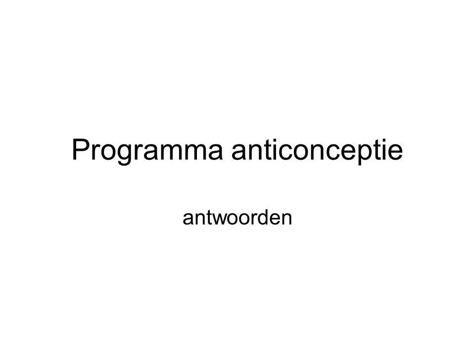 Programma anticonceptie antwoorden