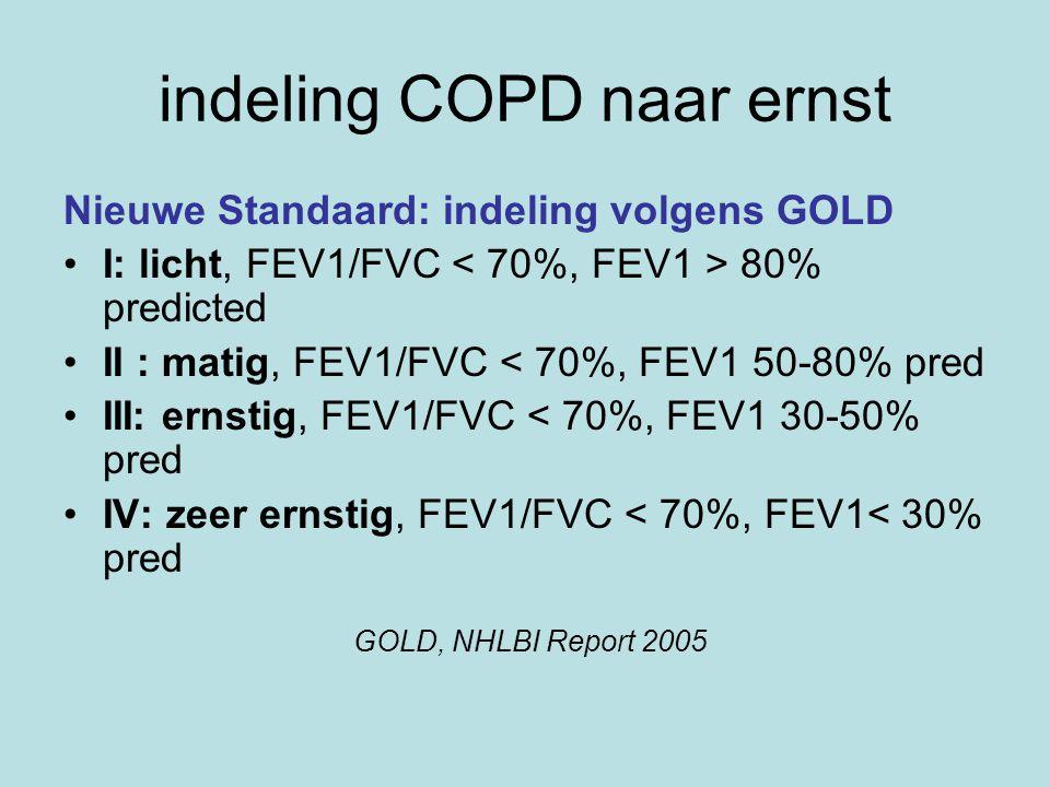 indeling COPD naar ernst Nieuwe Standaard: indeling volgens GOLD I: licht, FEV1/FVC 80% predicted II : matig, FEV1/FVC < 70%, FEV1 50-80% pred III: ernstig, FEV1/FVC < 70%, FEV1 30-50% pred IV: zeer ernstig, FEV1/FVC < 70%, FEV1< 30% pred GOLD, NHLBI Report 2005