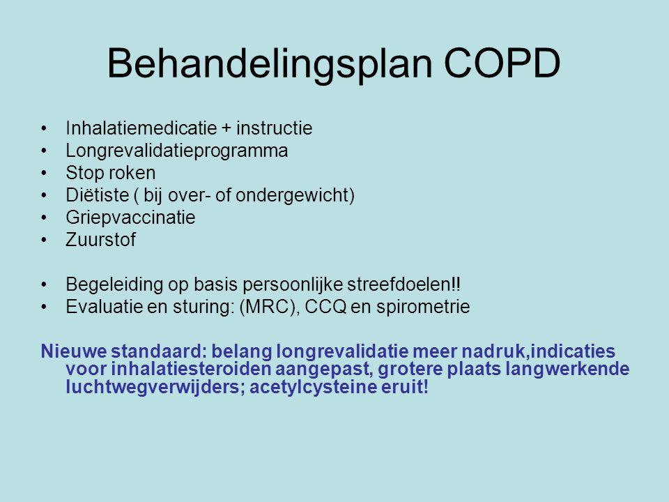 Behandelingsplan COPD Inhalatiemedicatie + instructie Longrevalidatieprogramma Stop roken Diëtiste ( bij over- of ondergewicht) Griepvaccinatie Zuurstof Begeleiding op basis persoonlijke streefdoelen!.