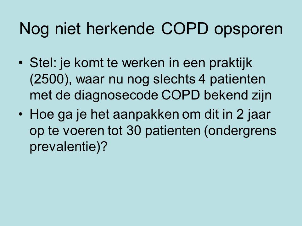 Nog niet herkende COPD opsporen Stel: je komt te werken in een praktijk (2500), waar nu nog slechts 4 patienten met de diagnosecode COPD bekend zijn H