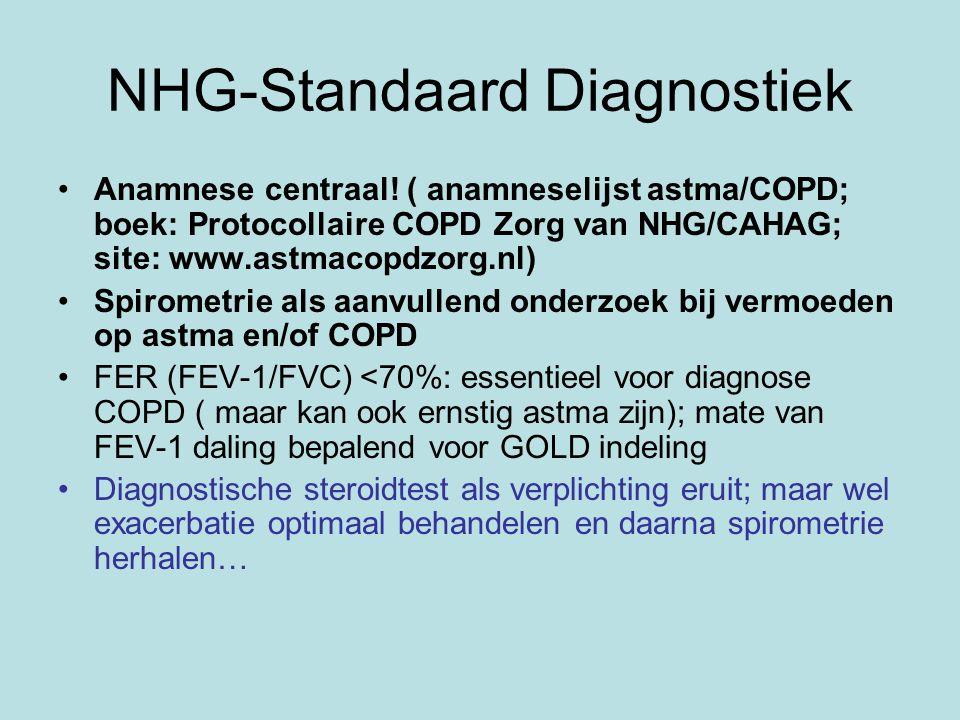 NHG-Standaard Diagnostiek Anamnese centraal! ( anamneselijst astma/COPD; boek: Protocollaire COPD Zorg van NHG/CAHAG; site: www.astmacopdzorg.nl) Spir