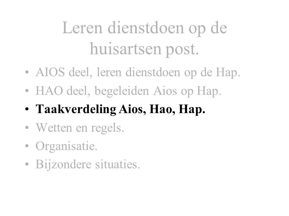 Leren dienstdoen op de huisartsen post. AIOS deel, leren dienstdoen op de Hap. HAO deel, begeleiden Aios op Hap. Taakverdeling Aios, Hao, Hap. Wetten