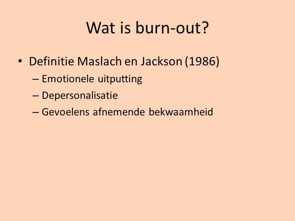 Definitie Maslach en Jackson (1986) – Emotionele uitputting – Depersonalisatie – Gevoelens afnemende bekwaamheid