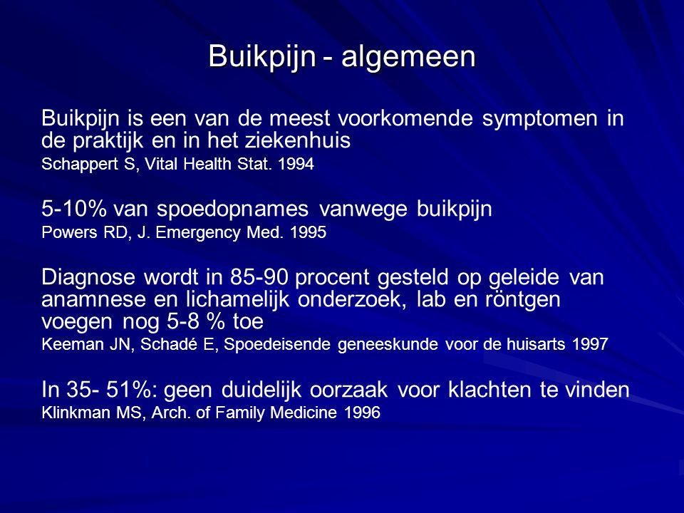 Zeldzame abdominale oorzaken Niet geperforeerd ulcus, galblaas- of darmperforatie, hernia incarcerata, invaginatie, geruptureerd aorta-aneurysma, EUG, mesenteriaalinfarct Extra-abdominale oorzaken Cardiaal: myocardinfarct, pericarditis, hartfalen, Aneurysma dissecans Aorta thoracalis Pumonaal: basale pneumonie, pleuritis, longembolie andere: torsio testis, weeën, intoxicaties, discusprolaps, ….