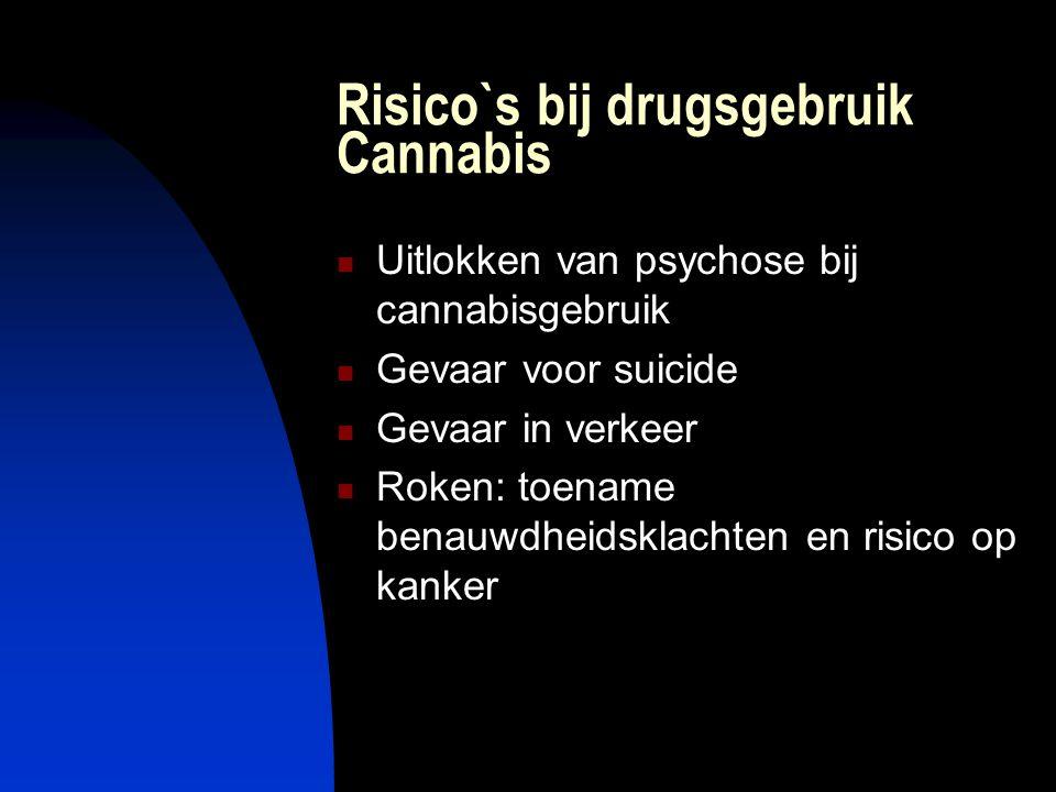 Risico`s bij drugsgebruik Cannabis Uitlokken van psychose bij cannabisgebruik Gevaar voor suicide Gevaar in verkeer Roken: toename benauwdheidsklachte