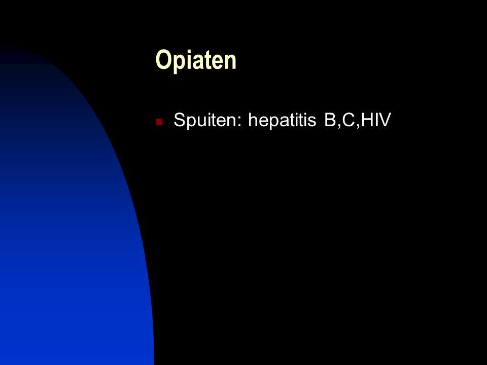 Opiaten Spuiten: hepatitis B,C,HIV