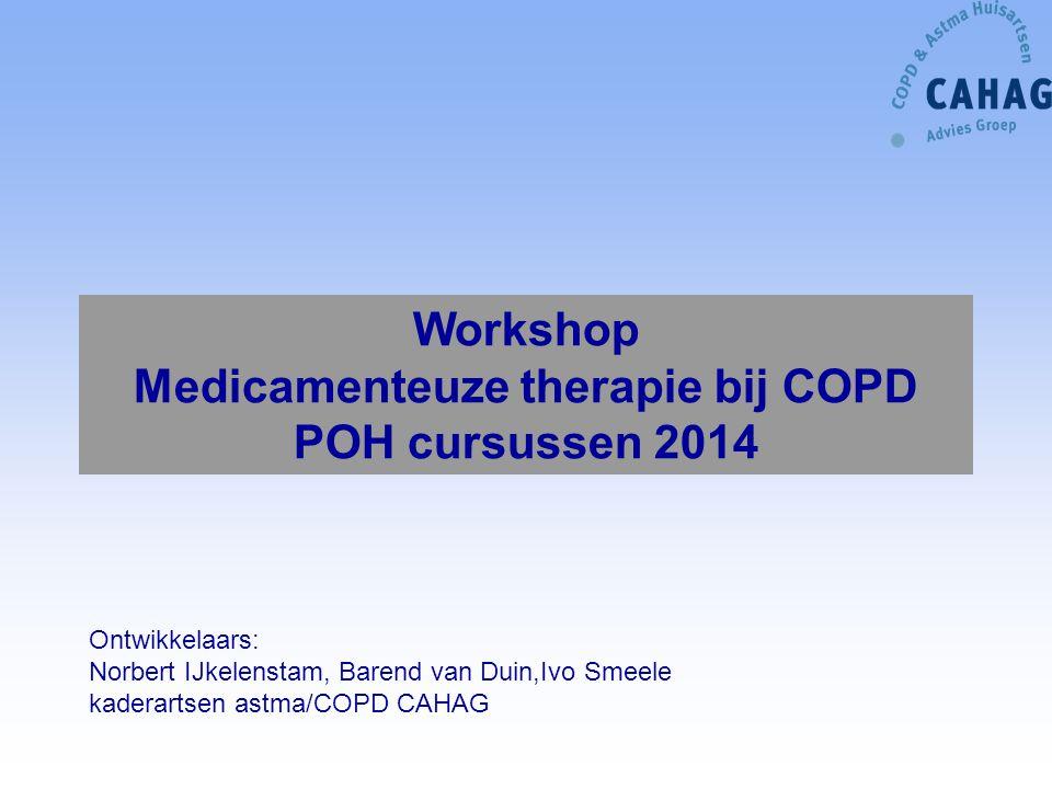 Ontwikkelaars: Norbert IJkelenstam, Barend van Duin,Ivo Smeele kaderartsen astma/COPD CAHAG Workshop Medicamenteuze therapie bij COPD POH cursussen 20
