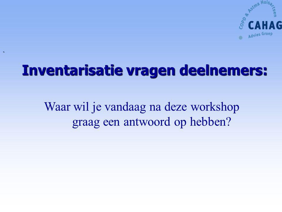 Inventarisatie vragen deelnemers: - Waar wil je vandaag na deze workshop graag een antwoord op hebben?