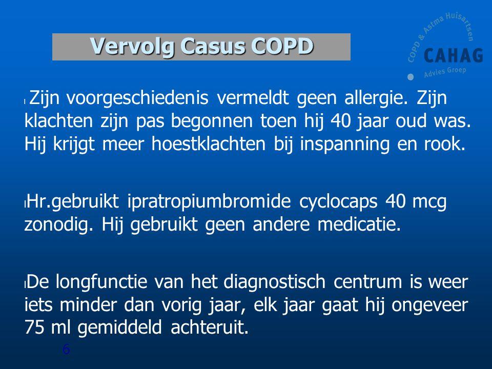 Casus mw van der Ven l 63 jr, 50 PY l COPD GOLD 2 l Nu vrijdagmiddag consult wegens toegenomen kortademigheid l Gebruikt z.n.