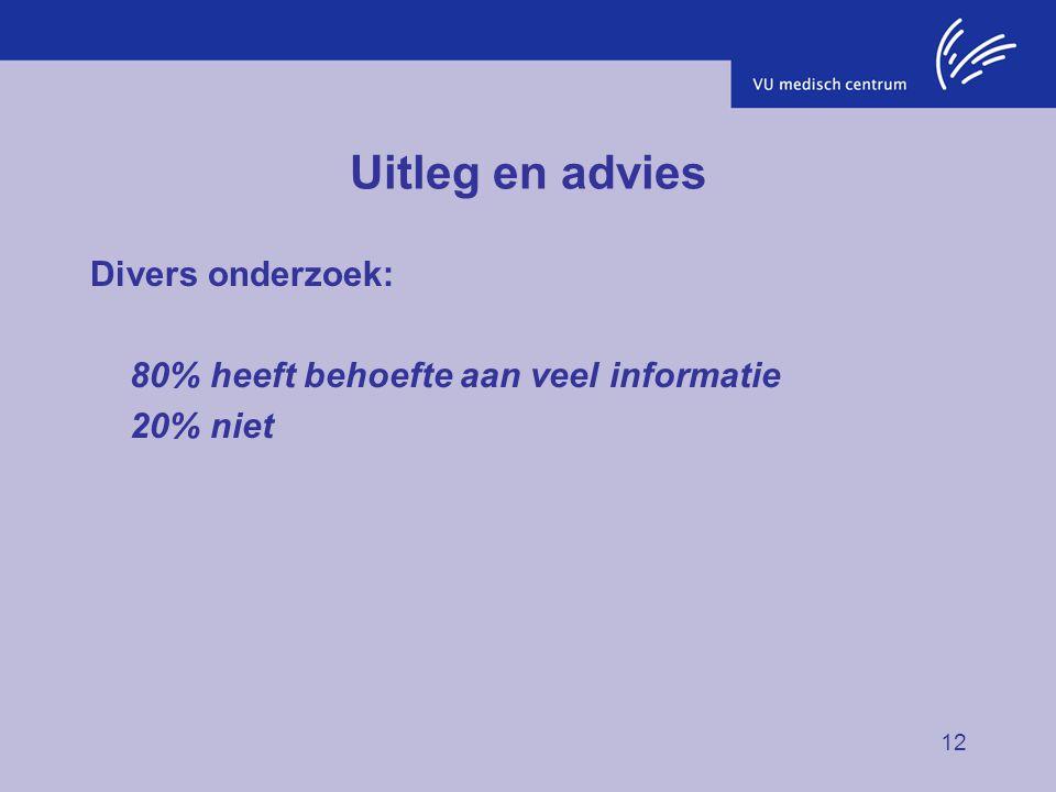 12 Uitleg en advies Divers onderzoek: 80% heeft behoefte aan veel informatie 20% niet