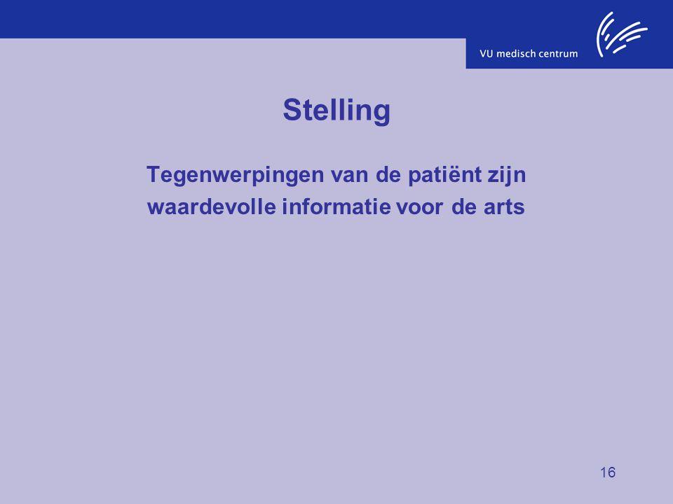 16 Stelling Tegenwerpingen van de patiënt zijn waardevolle informatie voor de arts