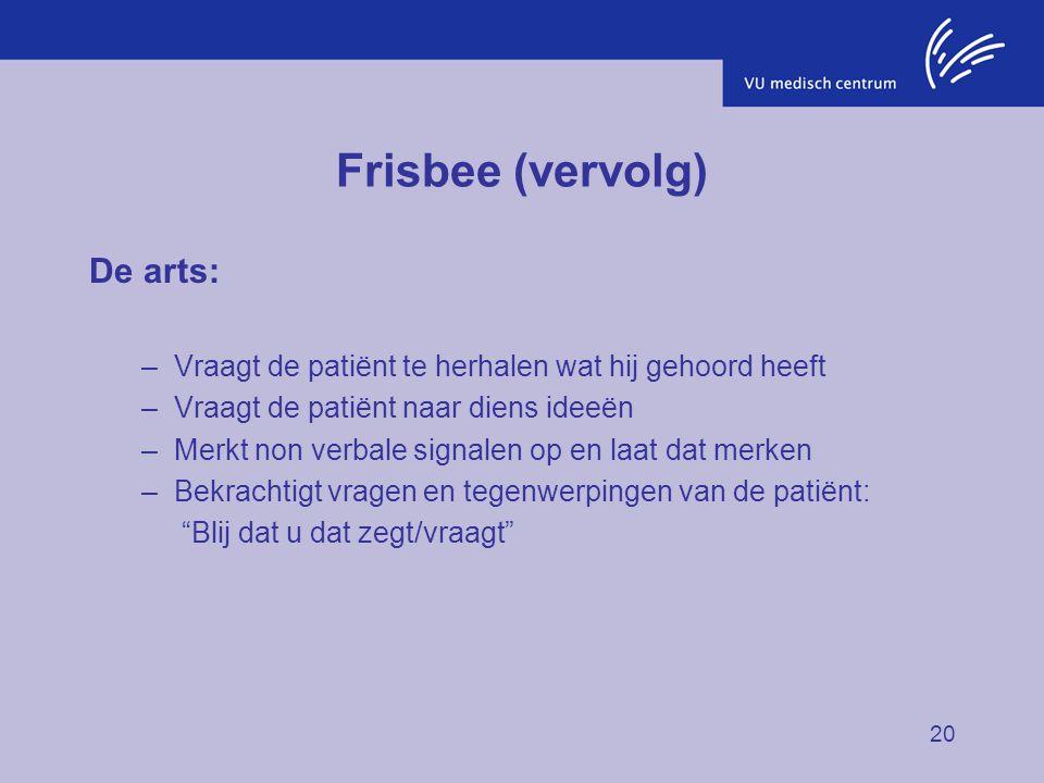 20 Frisbee (vervolg) De arts: –Vraagt de patiënt te herhalen wat hij gehoord heeft –Vraagt de patiënt naar diens ideeën –Merkt non verbale signalen op