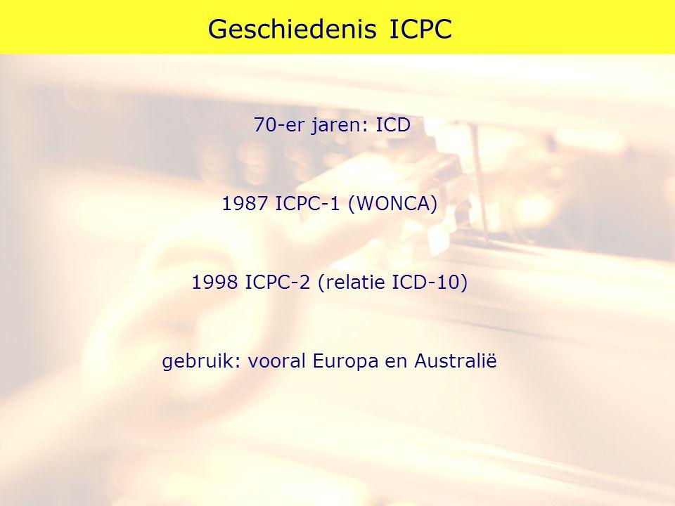 Geschiedenis ICPC 70-er jaren: ICD 1987 ICPC-1 (WONCA) 1998 ICPC-2 (relatie ICD-10) gebruik: vooral Europa en Australië