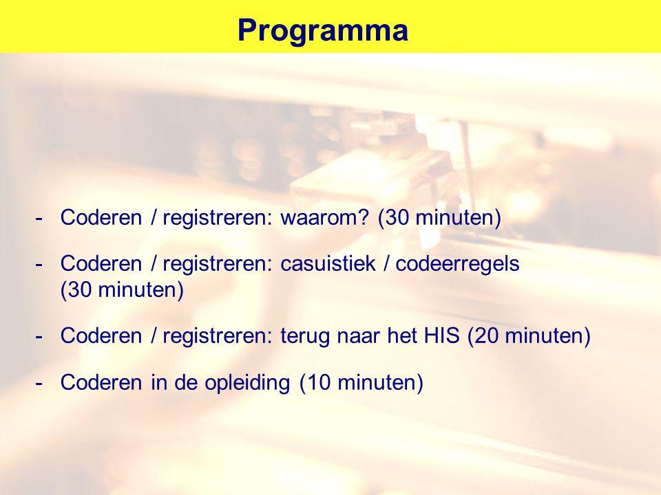 Programma -Coderen / registreren: waarom? (30 minuten) -Coderen / registreren: casuistiek / codeerregels (30 minuten) -Coderen / registreren: terug na