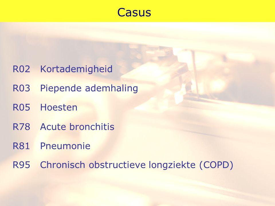 Casus R02Kortademigheid R03Piepende ademhaling R05Hoesten R78Acute bronchitis R81Pneumonie R95Chronisch obstructieve longziekte (COPD)