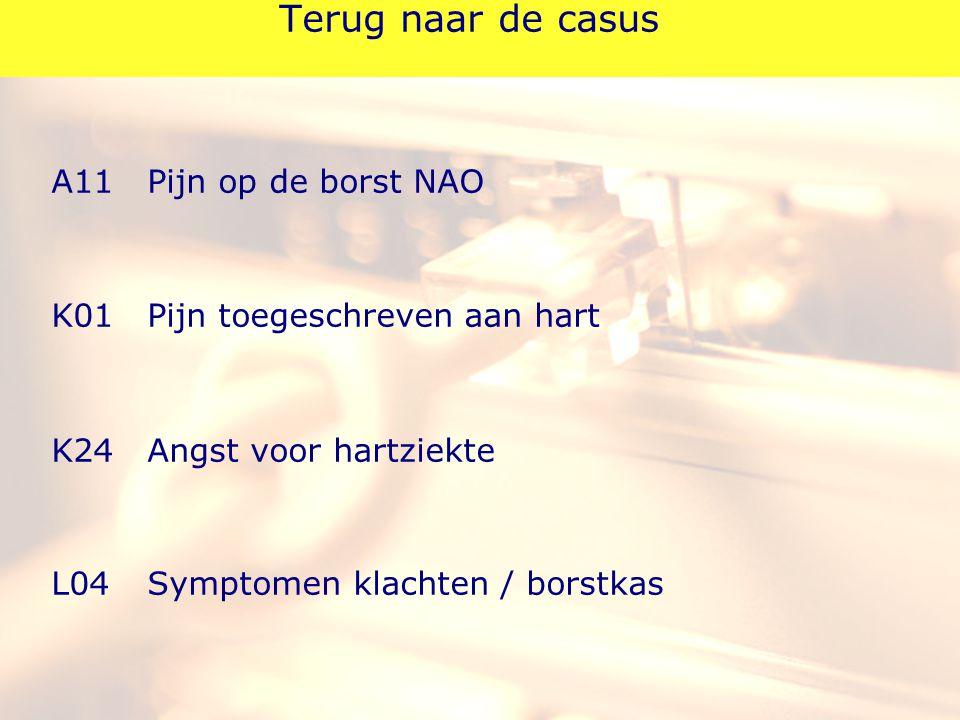Terug naar de casus A11Pijn op de borst NAO K01Pijn toegeschreven aan hart K24Angst voor hartziekte L04Symptomen klachten / borstkas