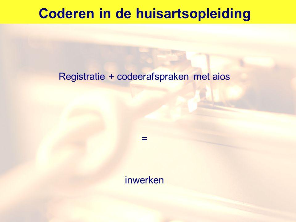 Coderen in de huisartsopleiding Registratie + codeerafspraken met aios = inwerken