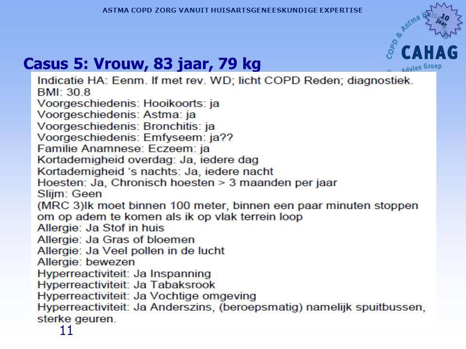 11 ASTMA COPD ZORG VANUIT HUISARTSGENEESKUNDIGE EXPERTISE 10 jaar 10 jaar Casus 5: Vrouw, 83 jaar, 79 kg