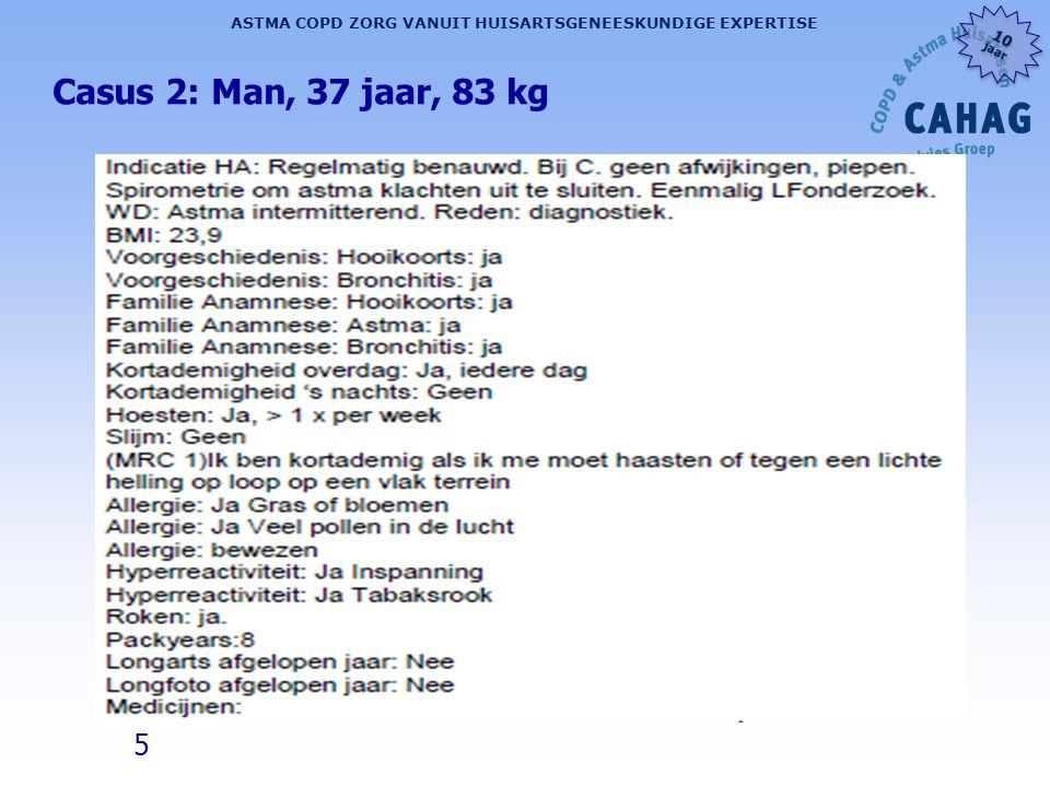 5 ASTMA COPD ZORG VANUIT HUISARTSGENEESKUNDIGE EXPERTISE 10 jaar 10 jaar Casus 2: Man, 37 jaar, 83 kg