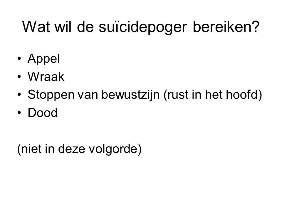 Wat wil de suïcidepoger bereiken.