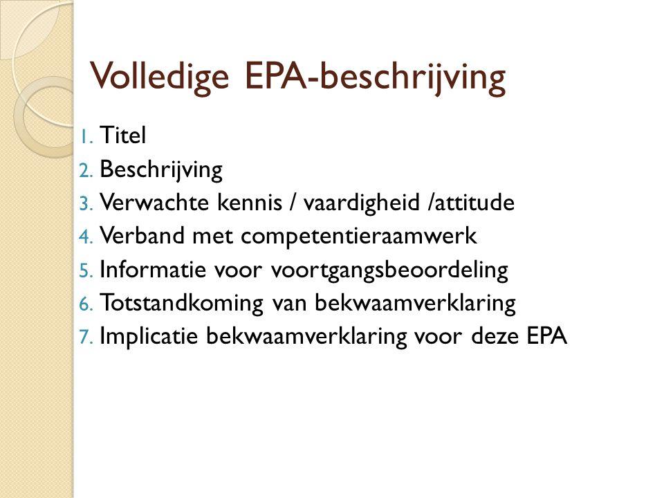Volledige EPA-beschrijving 1. Titel 2. Beschrijving 3. Verwachte kennis / vaardigheid /attitude 4. Verband met competentieraamwerk 5. Informatie voor