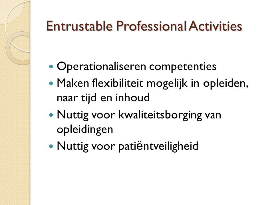 Entrustable Professional Activities Operationaliseren competenties Maken flexibiliteit mogelijk in opleiden, naar tijd en inhoud Nuttig voor kwaliteitsborging van opleidingen Nuttig voor pati ë ntveiligheid