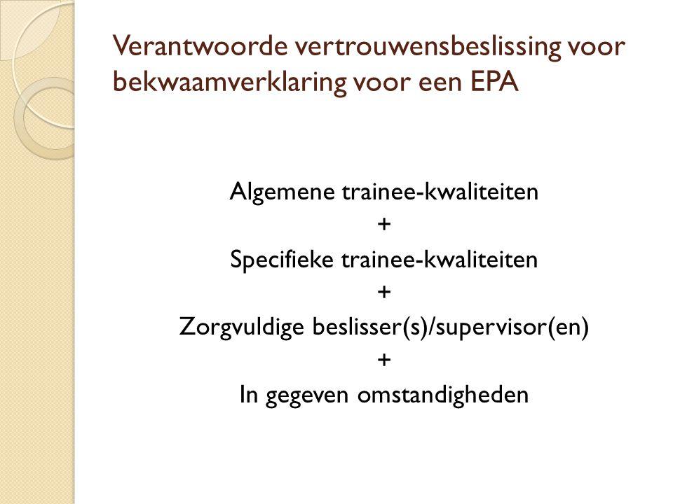 Verantwoorde vertrouwensbeslissing voor bekwaamverklaring voor een EPA Algemene trainee-kwaliteiten + Specifieke trainee-kwaliteiten + Zorgvuldige beslisser(s)/supervisor(en) + In gegeven omstandigheden