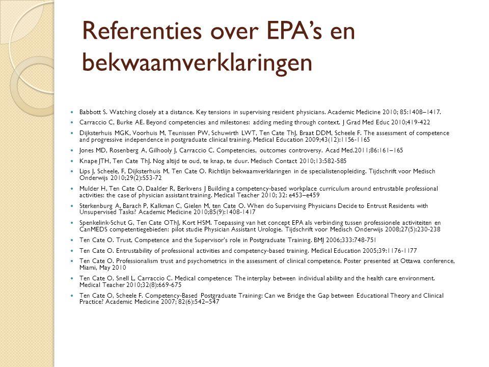 Referenties over EPA's en bekwaamverklaringen Babbott S.