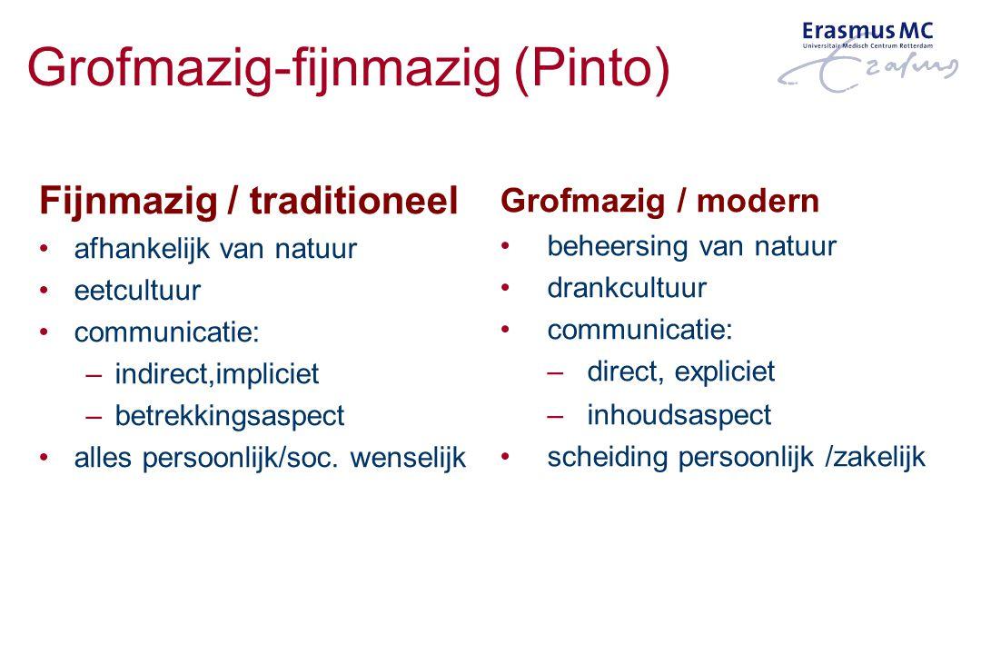Grofmazig / modern beheersing van natuur drankcultuur communicatie: –direct, expliciet –inhoudsaspect scheiding persoonlijk /zakelijk Fijnmazig / trad