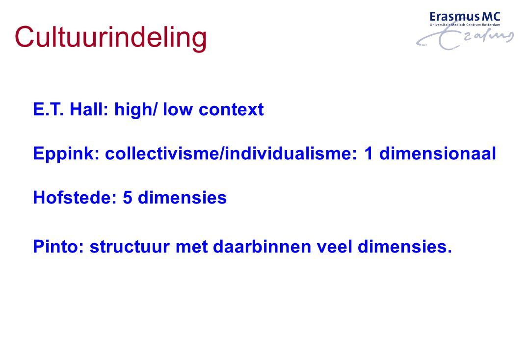 Cultuurindeling E.T. Hall: high/ low context Eppink: collectivisme/individualisme: 1 dimensionaal Hofstede: 5 dimensies Pinto: structuur met daarbinne