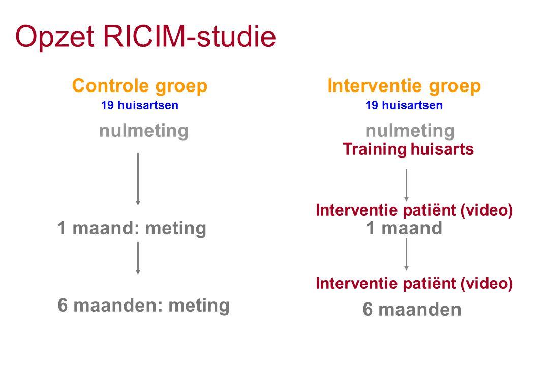 Opzet RICIM-studie Controle groep 19 huisartsen Interventie groep 19 huisartsen Training huisarts Interventie patiënt (video) 1 maand nulmeting 1 maan