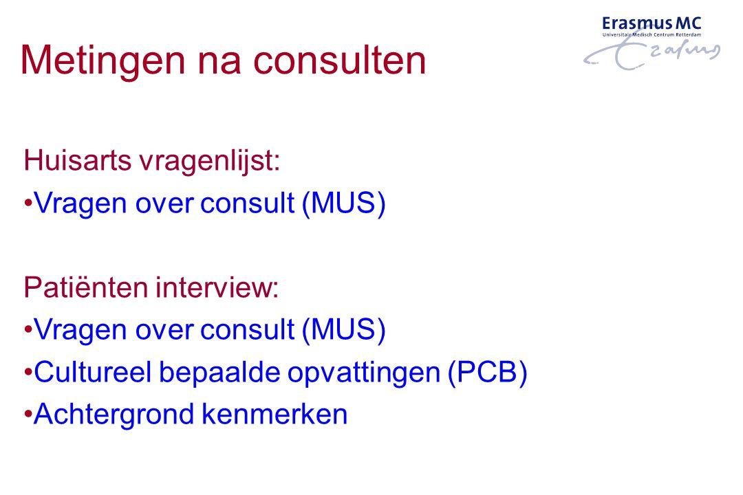 Metingen na consulten Huisarts vragenlijst: Vragen over consult (MUS) Patiënten interview: Vragen over consult (MUS) Cultureel bepaalde opvattingen (P