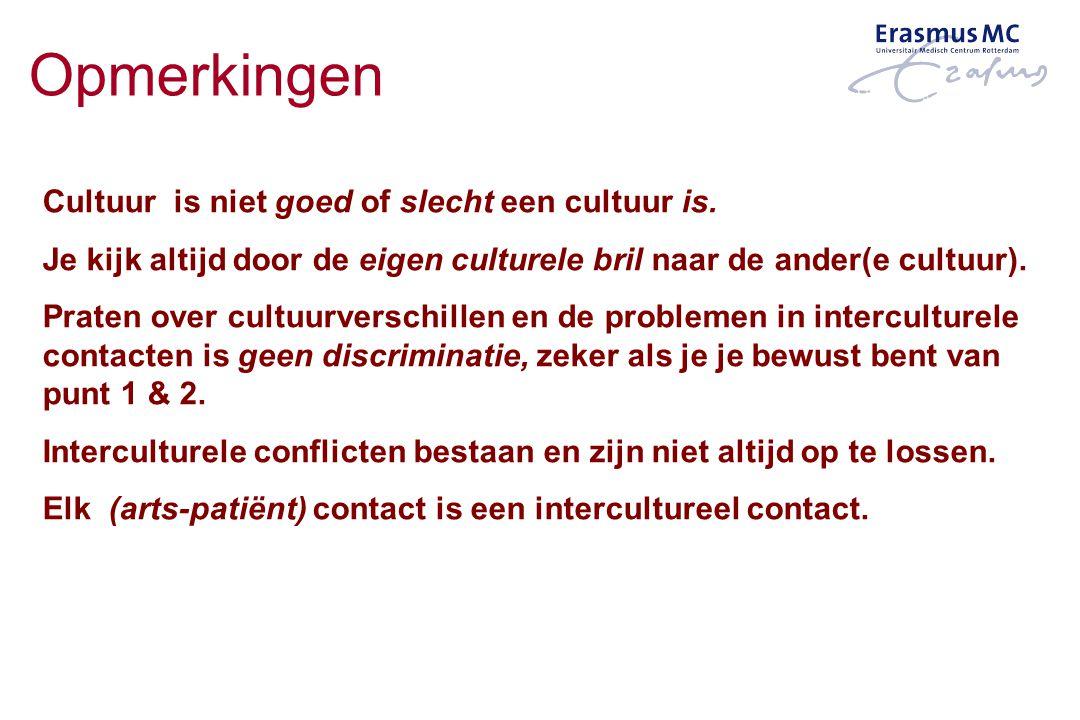 Opmerkingen Cultuur is niet goed of slecht een cultuur is. Je kijk altijd door de eigen culturele bril naar de ander(e cultuur). Praten over cultuurve