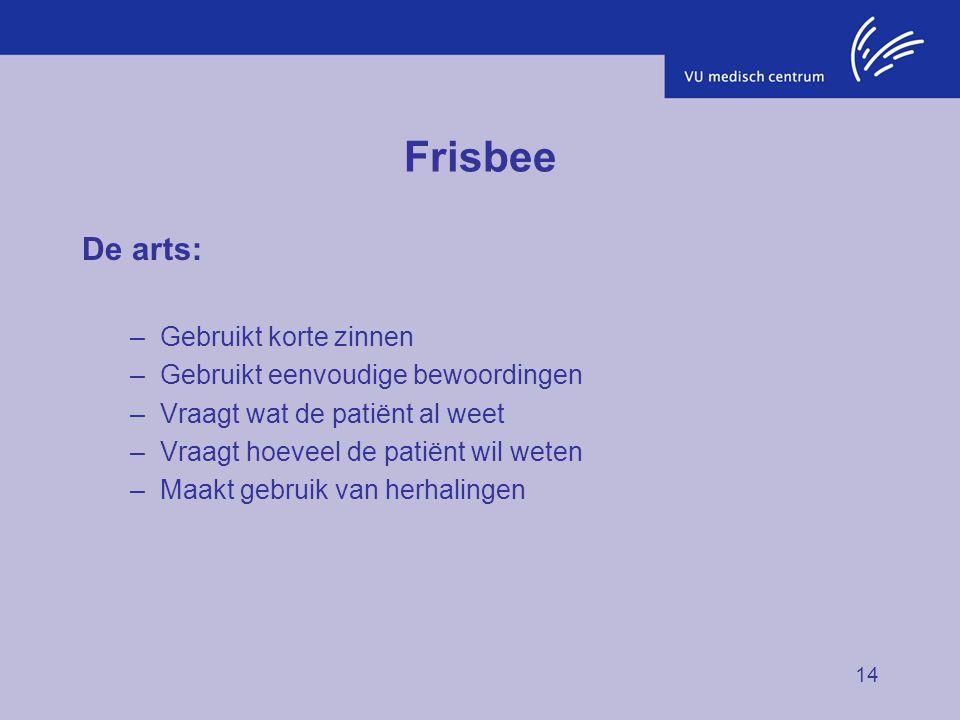14 Frisbee De arts: –Gebruikt korte zinnen –Gebruikt eenvoudige bewoordingen –Vraagt wat de patiënt al weet –Vraagt hoeveel de patiënt wil weten –Maak