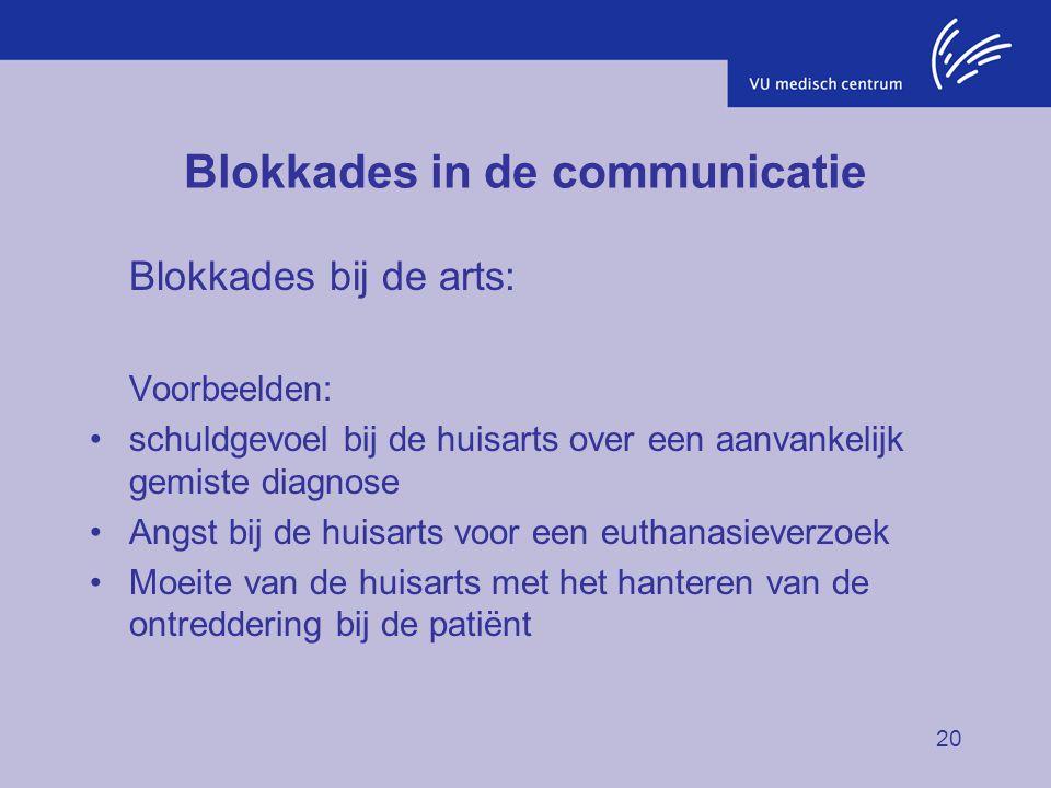 20 Blokkades in de communicatie Blokkades bij de arts: Voorbeelden: schuldgevoel bij de huisarts over een aanvankelijk gemiste diagnose Angst bij de h