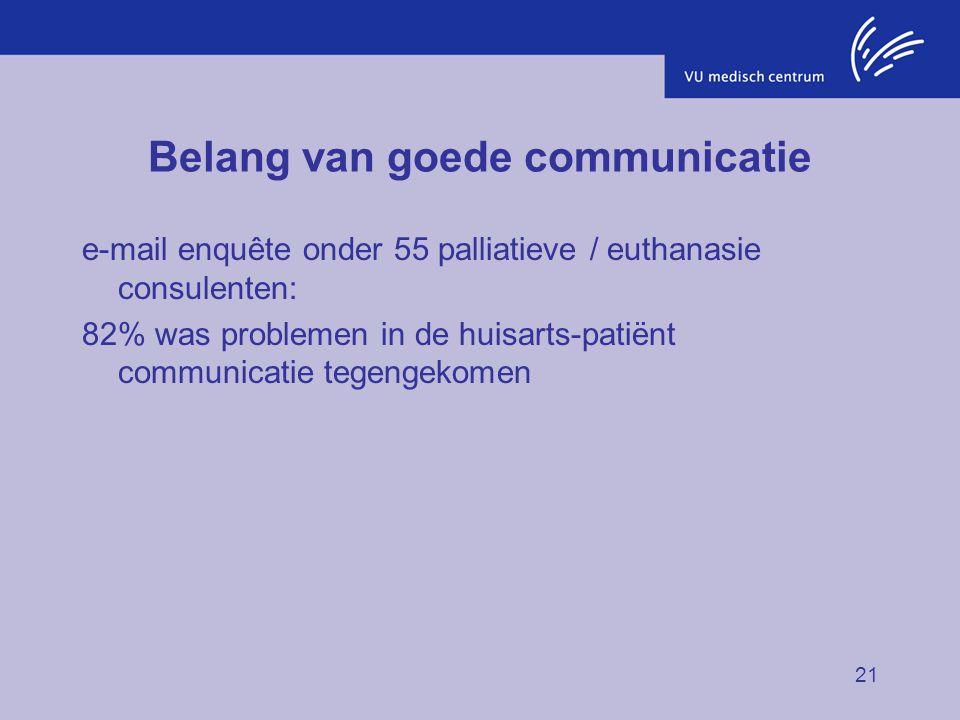 21 Belang van goede communicatie e-mail enquête onder 55 palliatieve / euthanasie consulenten: 82% was problemen in de huisarts-patiënt communicatie t