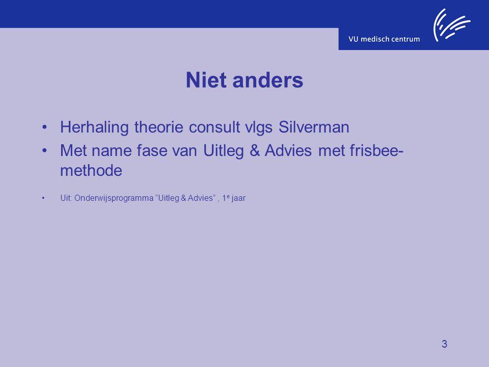 "3 Niet anders Herhaling theorie consult vlgs Silverman Met name fase van Uitleg & Advies met frisbee- methode Uit: Onderwijsprogramma ""Uitleg & Advies"