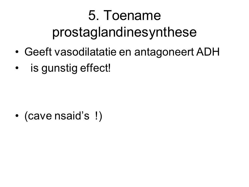 5. Toename prostaglandinesynthese Geeft vasodilatatie en antagoneert ADH is gunstig effect! (cave nsaid's !)
