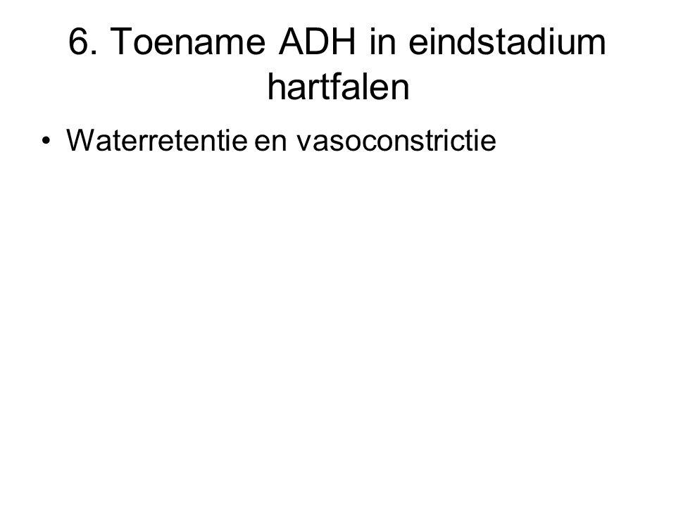 6. Toename ADH in eindstadium hartfalen Waterretentie en vasoconstrictie