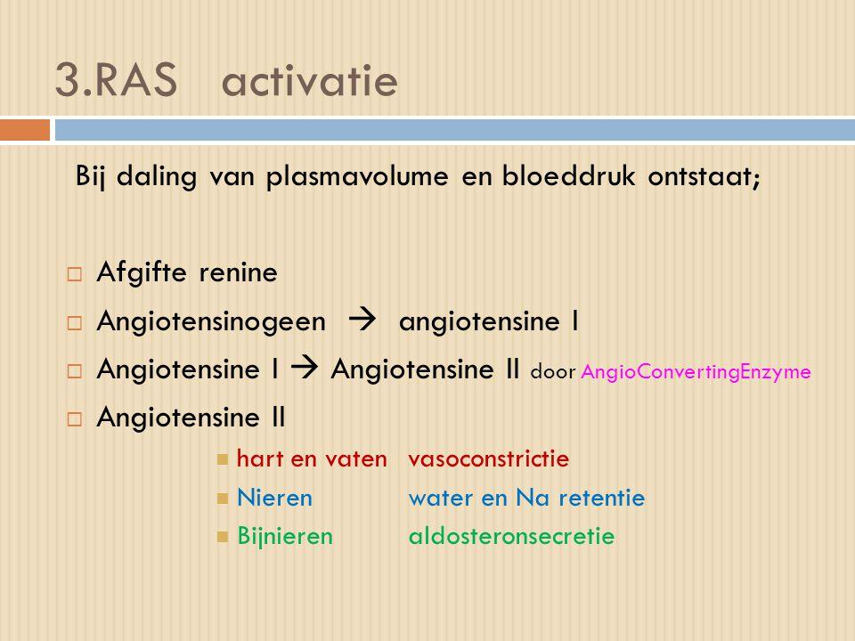 3.RAS activatie Bij daling van plasmavolume en bloeddruk ontstaat;  Afgifte renine  Angiotensinogeen  angiotensine I  Angiotensine I  Angiotensin
