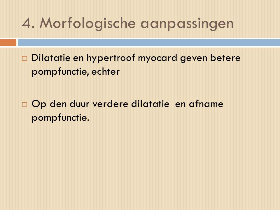 4. Morfologische aanpassingen  Dilatatie en hypertroof myocard geven betere pompfunctie, echter  Op den duur verdere dilatatie en afname pompfunctie