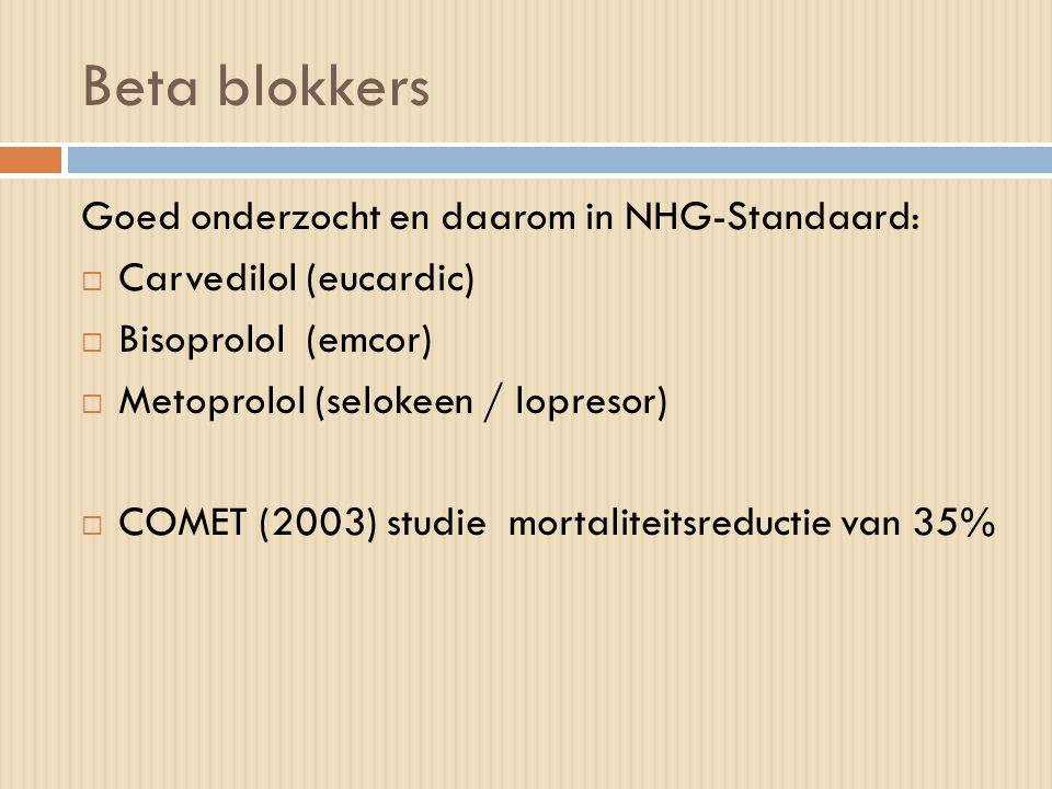 Beta blokkers Goed onderzocht en daarom in NHG-Standaard:  Carvedilol (eucardic)  Bisoprolol (emcor)  Metoprolol (selokeen / lopresor)  COMET (200