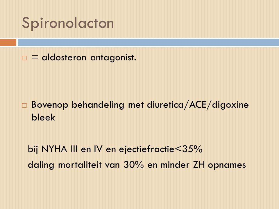 Spironolacton  = aldosteron antagonist.  Bovenop behandeling met diuretica/ACE/digoxine bleek bij NYHA III en IV en ejectiefractie<35% daling mortal