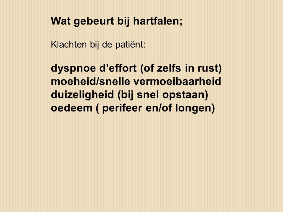 Wat gebeurt bij hartfalen; Klachten bij de patiënt: dyspnoe d'effort (of zelfs in rust) moeheid/snelle vermoeibaarheid duizeligheid (bij snel opstaan)