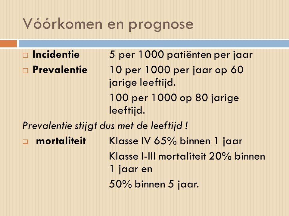 Vóórkomen en prognose  Incidentie5 per 1000 patiënten per jaar  Prevalentie10 per 1000 per jaar op 60 jarige leeftijd. 100 per 1000 op 80 jarige lee