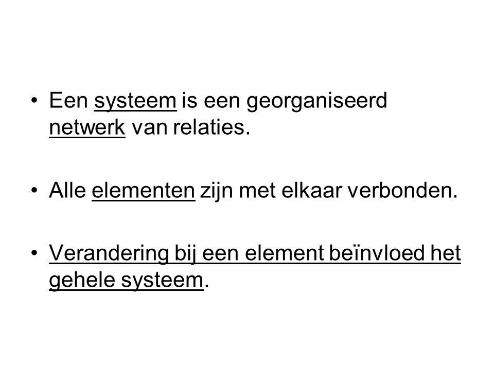 Een systeem is een georganiseerd netwerk van relaties. Alle elementen zijn met elkaar verbonden. Verandering bij een element beïnvloed het gehele syst