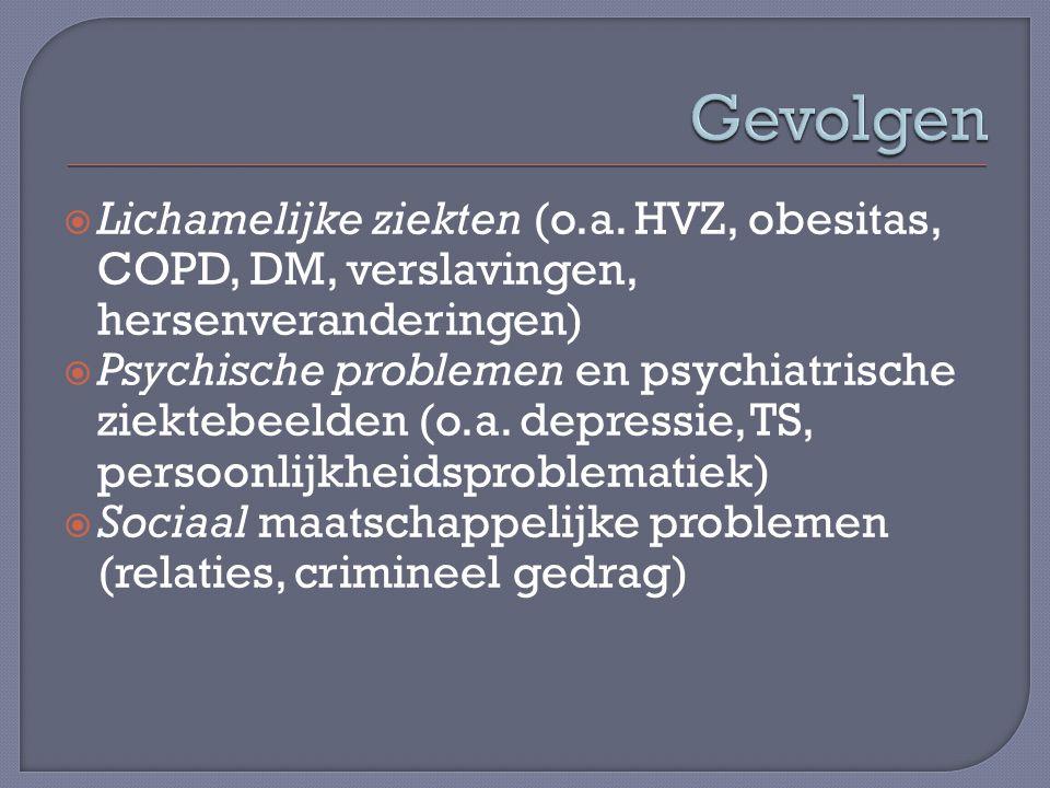  Lichamelijke ziekten (o.a. HVZ, obesitas, COPD, DM, verslavingen, hersenveranderingen)  Psychische problemen en psychiatrische ziektebeelden (o.a.